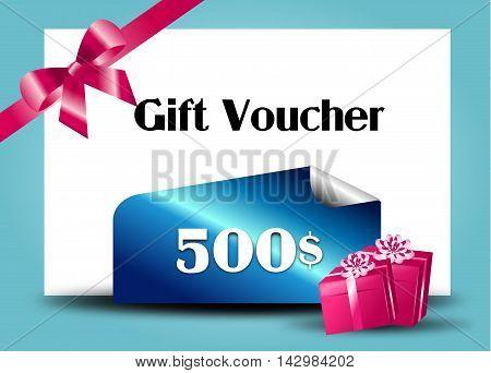 Illustration of modern gift voucher on 500$