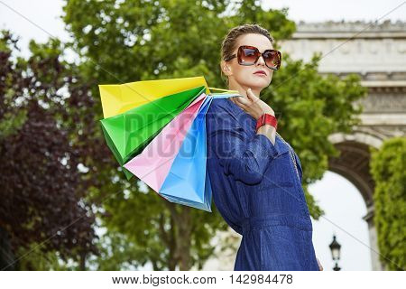 Fashion-monger With Shopping Bags Near Arc De Triomphe, Paris