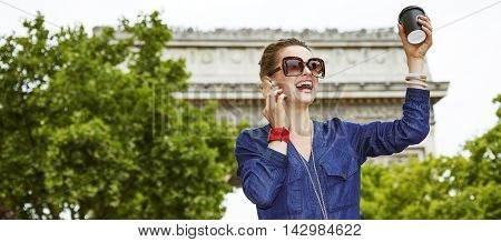 Fashion-monger Talking On Smartphone Near Arc De Triomphe, Paris