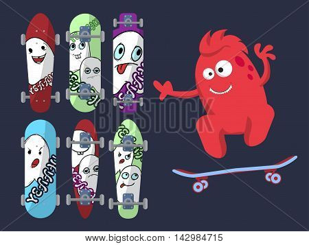 Six Bright Skateboard With Pictures Of Cute Ghosts On A Dark Background With A Red Monster. Vector