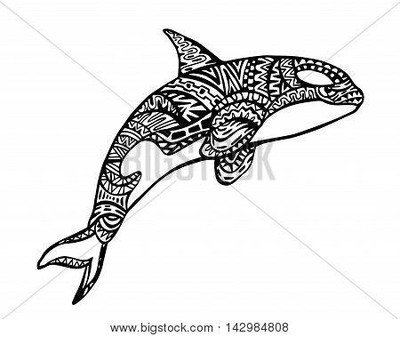 Ethnic Animal Doodle Detail Pattern - Killer Whale Zentangle Illustration