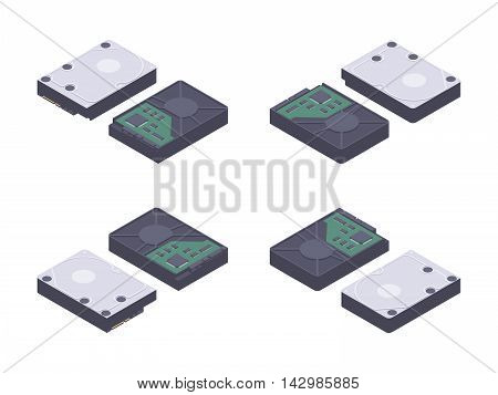 Isometric flat hdd, hard drive disk. The objects are isolated against the white background and shown from different sides