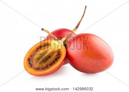 Ripe tamarillos isolated on white background