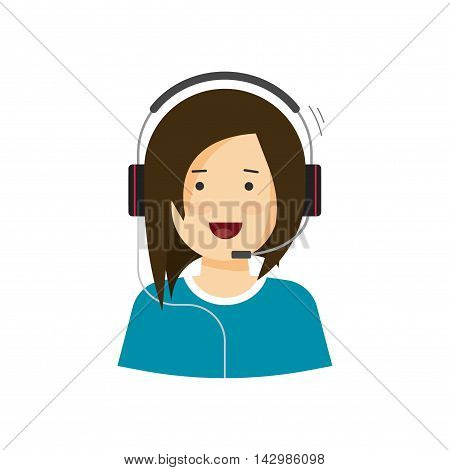 Support assistant vector illustration isolated on white, customer help desk agent woman speaking in microphone headphones, happy call center agent smiling and working, flat cartoon operator in headset