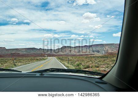 Driving through in Utah in North America
