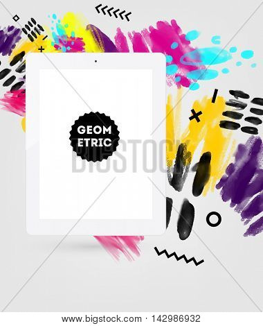 Tablet PC icon with abstract watercolor hipster background design. All aquarelle elements are monochrome and easy to recolor.