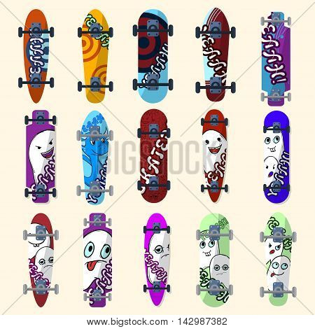 Set Of Skateboards And Skateboarding Elements Street Style. Painted In Bright Figures In A Cartoon.