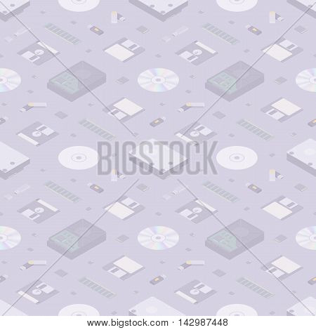Isometric flat digital memory storages seamless pattern against the light-purple background