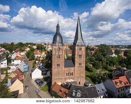 Rote Spitzen Altenburg medieval town red towers old aerial view