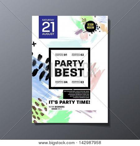 Party flyer template with abstract watercolor background design. All aquarelle elements are monochrome and easy to recolor.