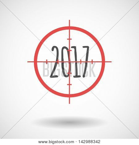 Isolated Line Art Crosshair Icon With  A 2017 Year  Number Icon