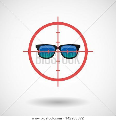 Isolated Line Art Crosshair Icon With  A Sunglasses Icon