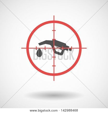 Isolated Line Art Crosshair Icon With  A Gas Hose
