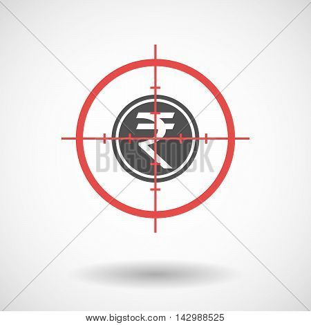 Isolated Line Art Crosshair Icon With  A Rupee Coin Icon