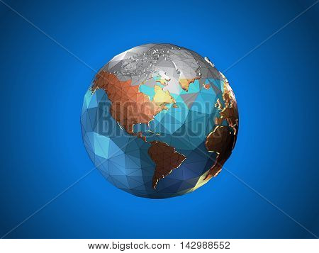 Low poly earth fade from gray to color with wireframe on blue background
