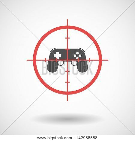 Isolated Line Art Crosshair Icon With  A Game Pad