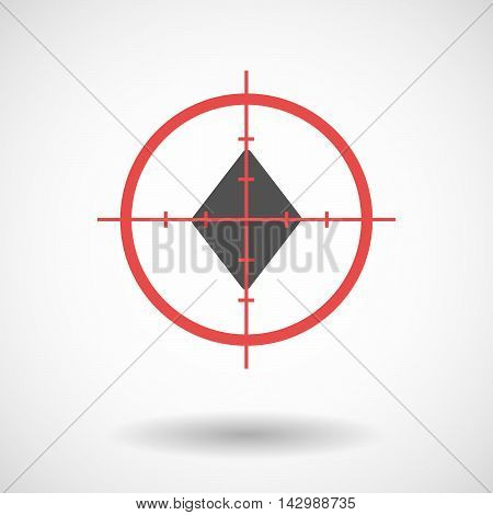 Isolated Line Art Crosshair Icon With  The  Diamond  Poker Playing Card Sign
