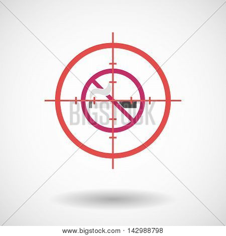 Isolated Line Art Crosshair Icon With  A No Smoking Sign
