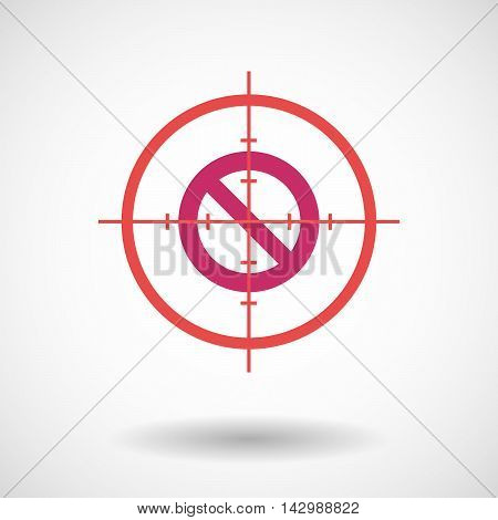 Isolated Line Art Crosshair Icon With  A Forbidden Sign