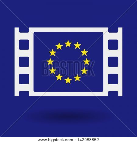 Isolated Celluloid Film Frame Icon With  The Eu Flag Stars