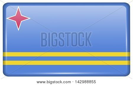 Flags Aruba In The Form Of A Magnet On Refrigerator With Reflections Light. Vector