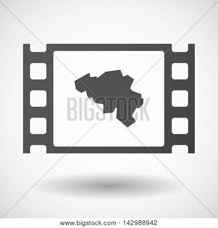 Isolated Celluloid Film Frame Icon With  The Map Of Belgium