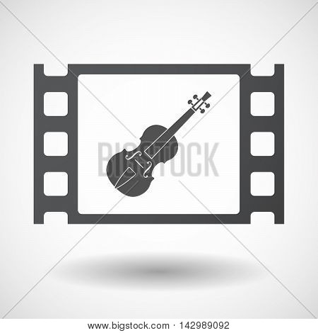Isolated Celluloid Film Frame Icon With  A Violin