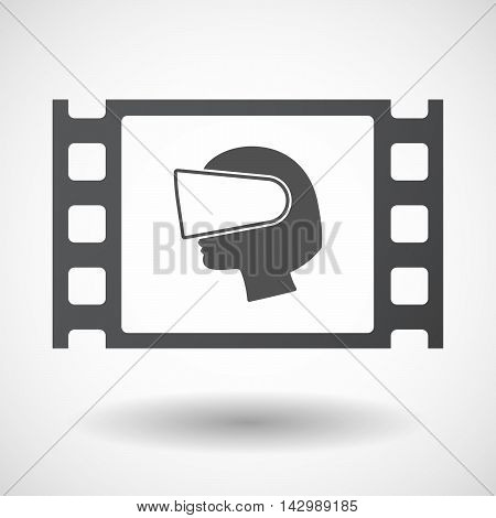 Isolated Celluloid Film Frame Icon With  A Female Head Wearing A Virtual Reality Headset