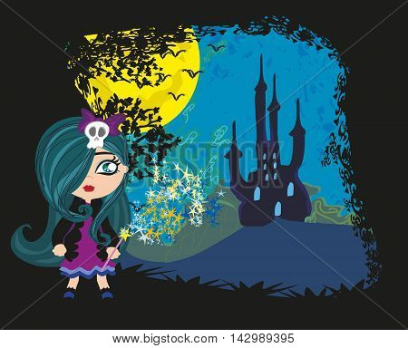 little witch in night on castle landscape , vector illustration
