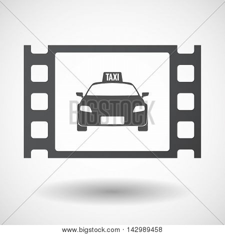 Isolated Celluloid Film Frame Icon With  A Taxi Icon