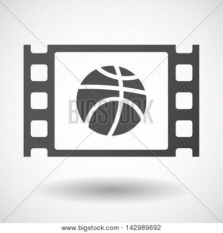 Isolated Celluloid Film Frame Icon With  A Basketball Ball