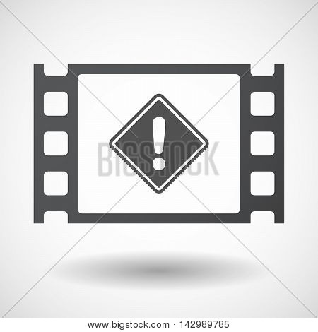 Isolated Celluloid Film Frame Icon With   A Warning Road Sign