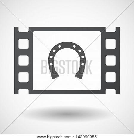 Isolated Celluloid Film Frame Icon With  A Horseshoe Sign