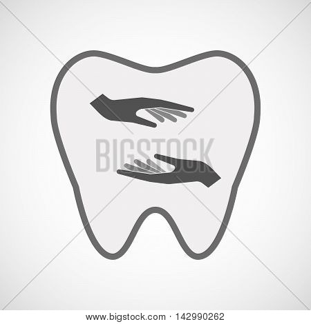 Isolated Line Art Tooth Icon With  Two Hands Giving And Receiving  Or Protecting