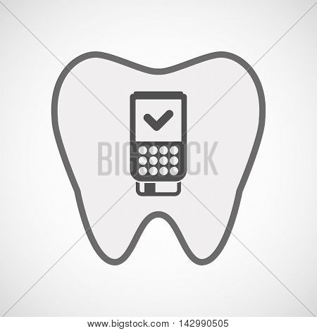 Isolated Line Art Tooth Icon With  A Dataphone Icon