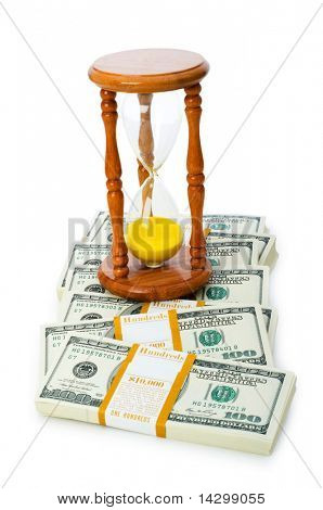 Time is money concept with dollars and hourglass