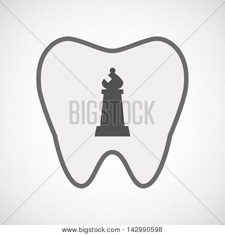 Isolated Line Art Tooth Icon With A Bishop    Chess Figure