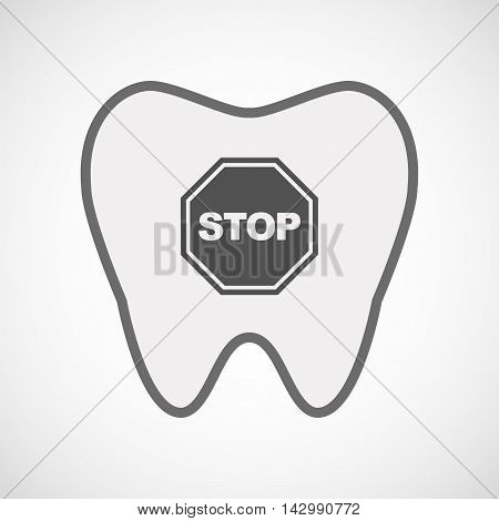 Isolated Line Art Tooth Icon With  A Stop Signal
