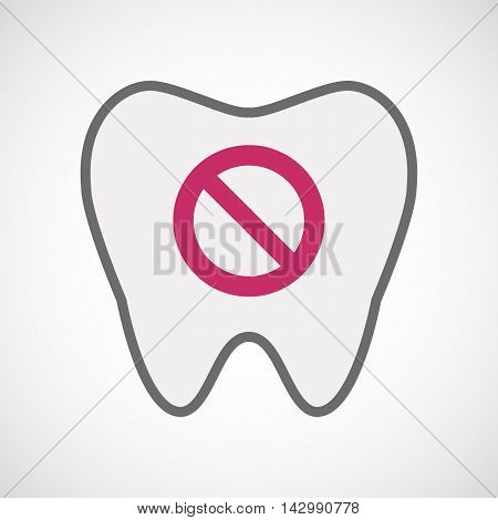 Isolated Line Art Tooth Icon With  A Forbidden Sign