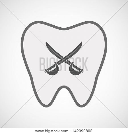 Isolated Line Art Tooth Icon With  Two Swords Crossed