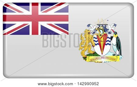Flags British Antarctic Territory In The Form Of A Magnet On Refrigerator With Reflections Light. Ve