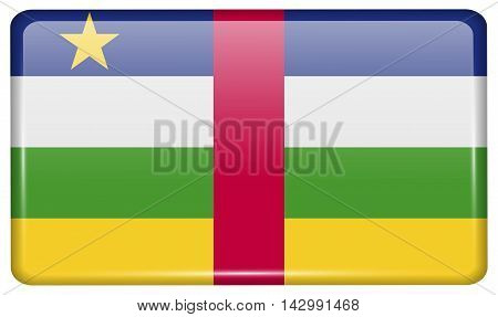Flags Central African Republic In The Form Of A Magnet On Refrigerator With Reflections Light. Vecto