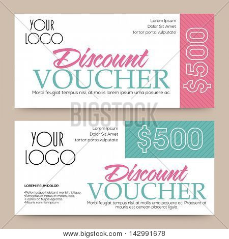 Creative Discount Voucher, Gift Card or Coupon template layout, Vector illustration.