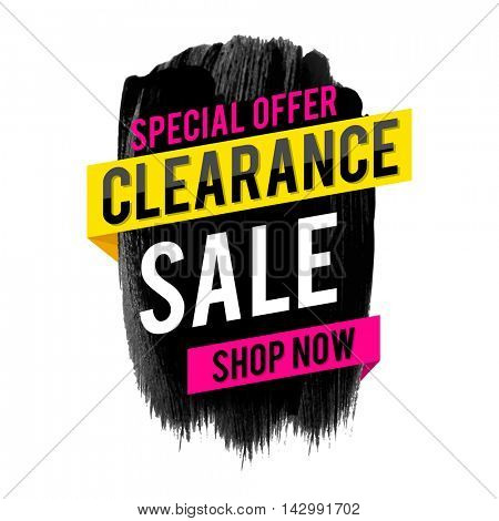 Clearance Sale and Special Offer Poster, Banner or Flyer design with abstract brush strokes, Vector illustration.