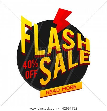 Flash Sale with 40% Off, Creative 3D typographical background, Can be used as Poster, Banner or Flyer design.