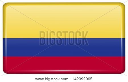 Flags Colombia In The Form Of A Magnet On Refrigerator With Reflections Light. Vector