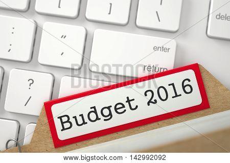 Budget 2016. Red Folder Register on Background of White Modern Computer Keypad. Archive Concept. Closeup View. Blurred Illustration. 3D Rendering.