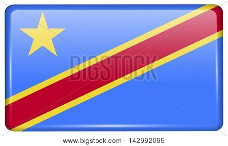 Flags Congo Democratic Republic In The Form Of A Magnet On Refrigerator With Reflections Light. Vect