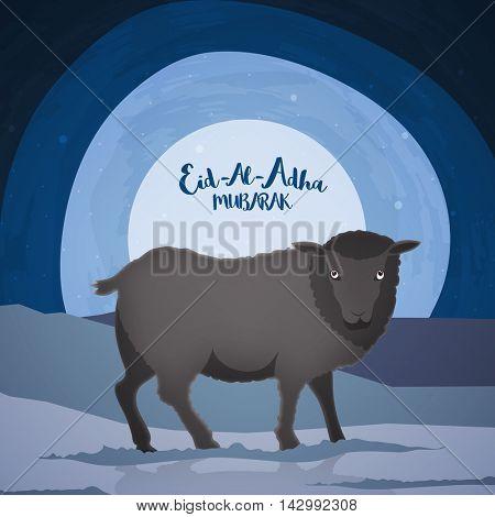 Vector cartoon of black Sheep on Desert background for Muslim Community, Festival of Sacrifice, Eid-Al-Adha Mubarak.