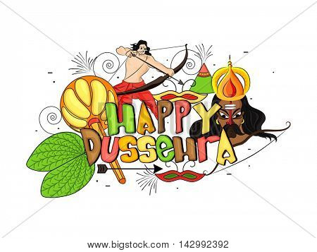 Colourful Text Happy Dussehra of Sona Patta (Golden Leaf), Mace (Gada), Lord Rama, Ravana and other elements, Can be used as Poster, Banner or Flyer design for Indian Festival celebration.